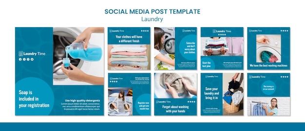 Szablon postu w mediach społecznościowych pralni