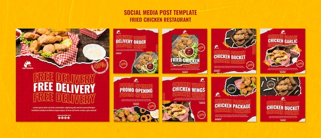 Szablon postu w mediach społecznościowych restauracji smażonego kurczaka