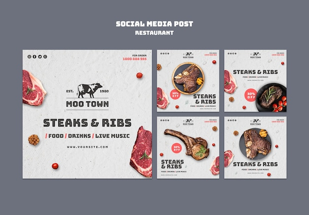 Szablon postu w mediach społecznościowych restauracji stek