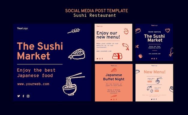 Szablon postu w mediach społecznościowych restauracji sushi