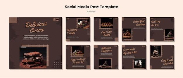 Szablon postu w mediach społecznościowych sklepu czekoladowego