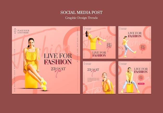 Szablon postu w mediach społecznościowych sklepu mody