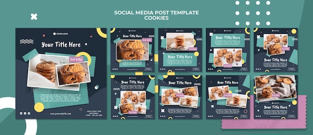 Szablon postu w mediach społecznościowych sklepu z ciasteczkami