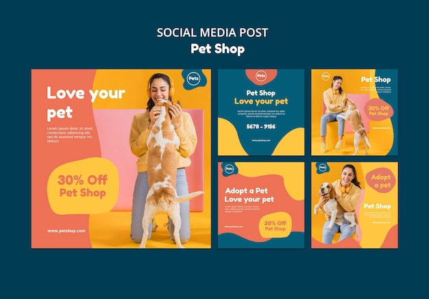 Szablon postu w mediach społecznościowych sklepu zoologicznego