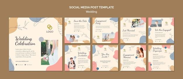Szablon postu w mediach społecznościowych ślub