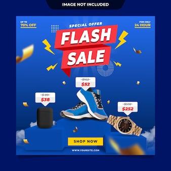 Szablon postu w mediach społecznościowych sprzedaży flash