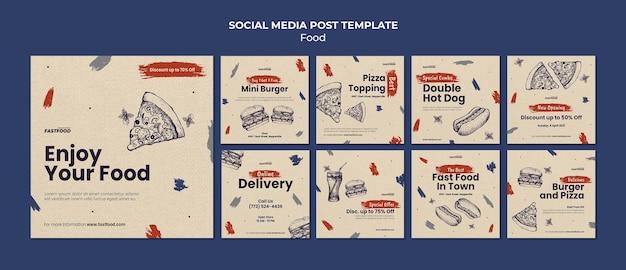 Szablon postu w mediach społecznościowych sprzedaży żywności
