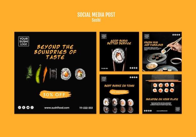 Szablon postu w mediach społecznościowych sushi