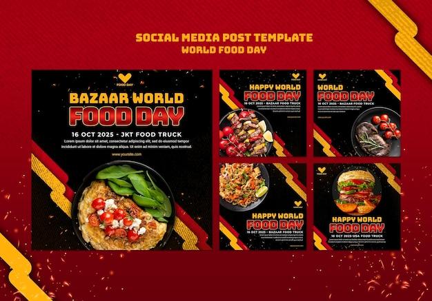 Szablon postu w mediach społecznościowych światowego dnia żywności