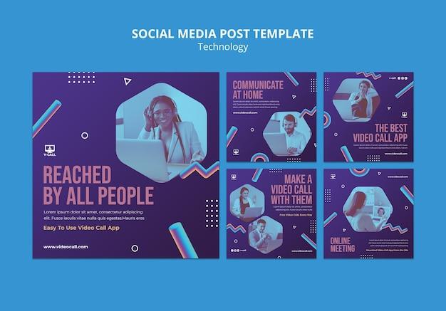 Szablon postu w mediach społecznościowych technologii