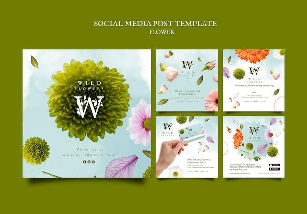 Szablon postu w mediach społecznościowych w kwiaciarni