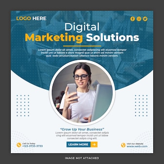 Szablon postu w mediach społecznościowych w rozwiązaniu do marketingu cyfrowego