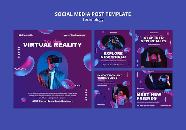 Szablon postu w mediach społecznościowych w wirtualnej rzeczywistości