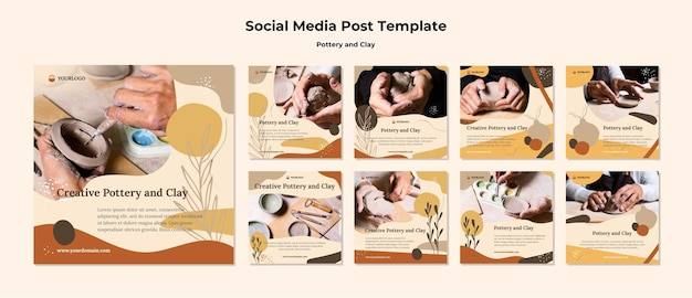 Szablon postu w mediach społecznościowych z ceramiki i gliny