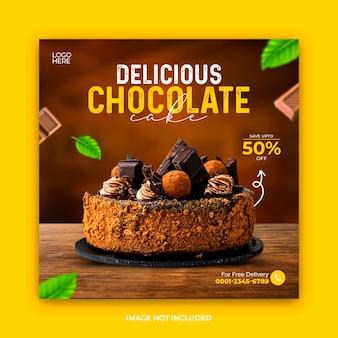 Szablon postu w mediach społecznościowych z ciastem czekoladowym