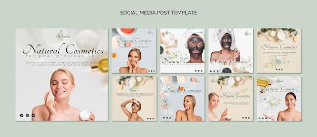 Szablon postu w mediach społecznościowych z kosmetykami naturalnymi