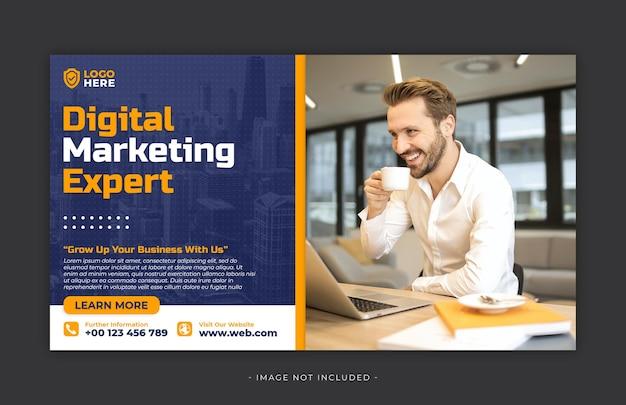Szablon postu w mediach społecznościowych z marketingu cyfrowego premium psd
