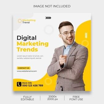 Szablon postu w mediach społecznościowych z marketingu cyfrowego