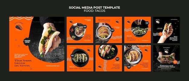 Szablon postu w mediach społecznościowych z meksykańską żywnością