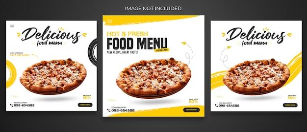 Szablon postu w mediach społecznościowych z menu restauracji lub żywności premium psd