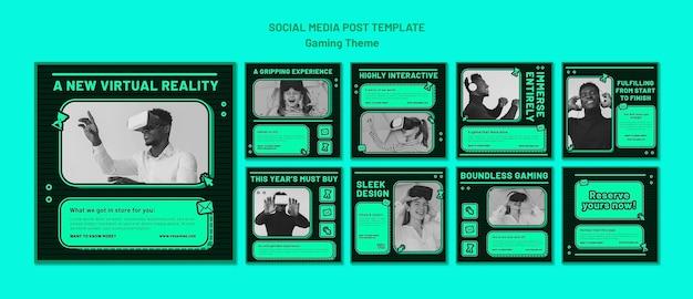 Szablon postu w mediach społecznościowych z motywem gier