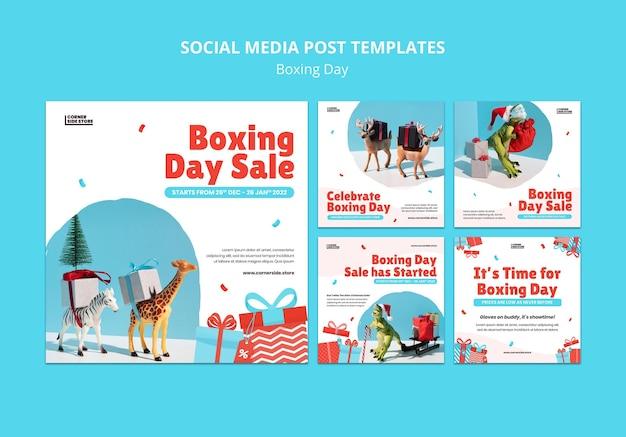 Szablon postu w mediach społecznościowych z okazji boxing day