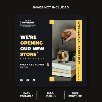 Szablon postu w mediach społecznościowych z okazji międzynarodowego dnia kawy