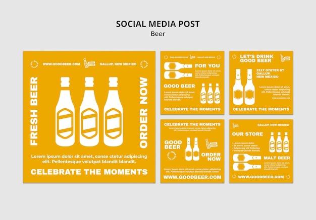 Szablon postu w mediach społecznościowych z piwem