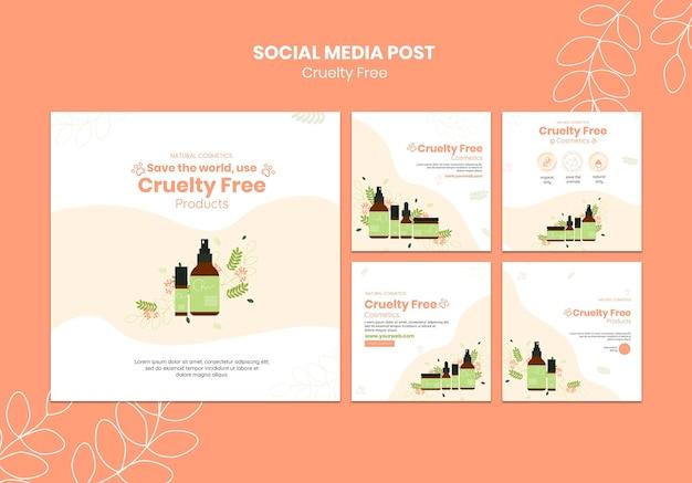 Szablon postu w mediach społecznościowych z produktami okrutnymi
