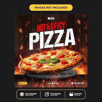 Szablon postu w mediach społecznościowych z pyszną pizzą