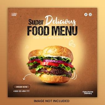 Szablon postu w mediach społecznościowych z pysznym burgerem