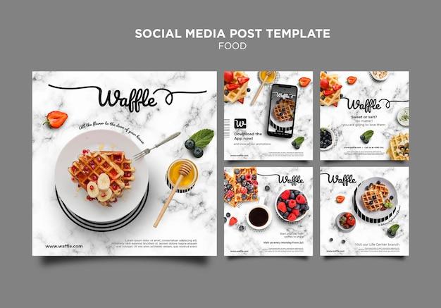 Szablon postu w mediach społecznościowych z pysznym jedzeniem