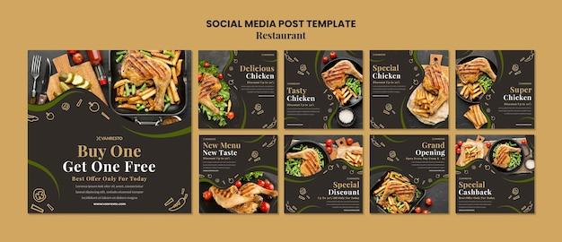 Szablon postu w mediach społecznościowych z reklamą restauracji