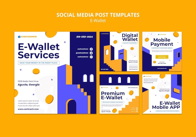 Szablon postu w mediach społecznościowych z usługami e-portfel