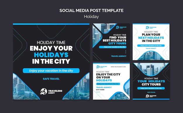 Szablon postu w mediach społecznościowych z wycieczkami po mieście