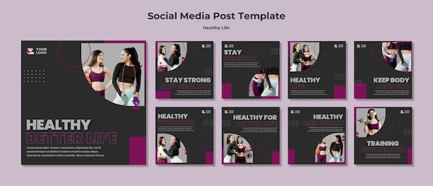 Szablon postu w mediach społecznościowych zdrowego stylu życia