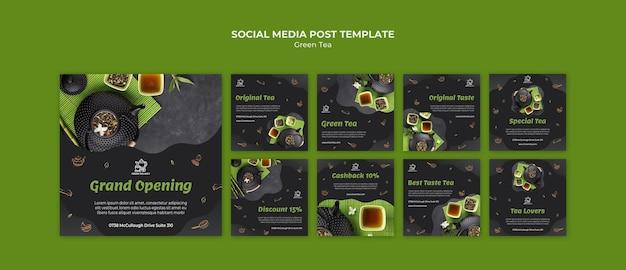 Szablon postu w mediach społecznościowych zielonej herbaty