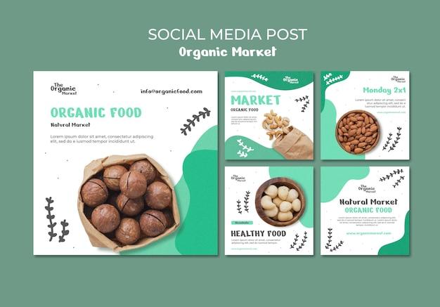 Szablon postu w mediach społecznościowych żywności ekologicznej