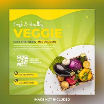 Szablon postu z warzywami i warzywami w mediach społecznościowych