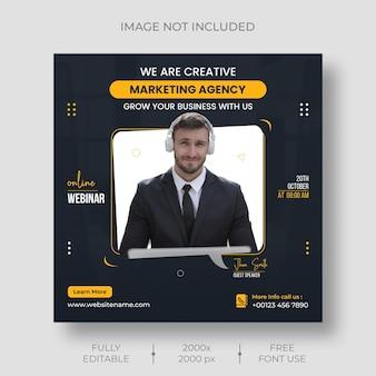 Szablon postu z webinarium na żywo w mediach społecznościowych marketingu cyfrowego