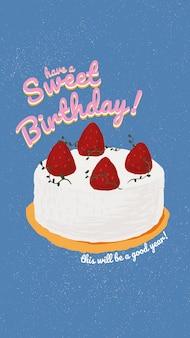 Szablon powitania urodzinowego online psd z uroczym ciastem i życzącym tekstem