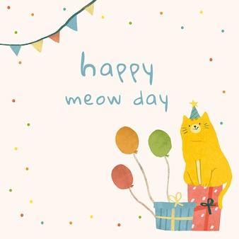 Szablon powitania urodzinowego psd z ilustracją kota