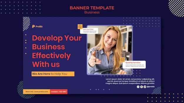 Szablon poziomego banera dla profesjonalnych rozwiązań biznesowych