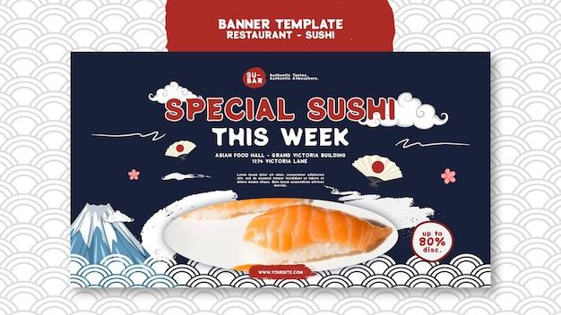 Szablon poziomego banera sushi