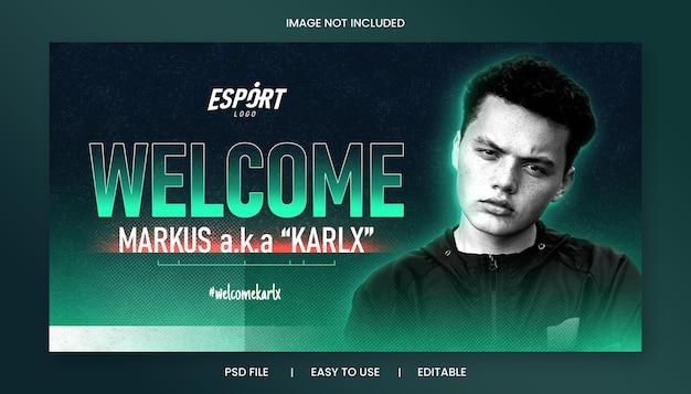 Szablon poziomego banera wprowadzającego gracza e-sportowego