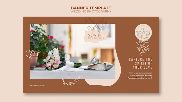 Szablon poziomy baner dla usługi fotografii ślubnej
