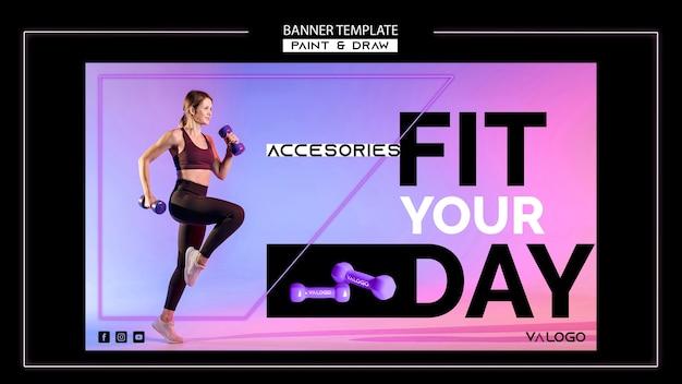 Szablon poziomy baner do treningu fitness