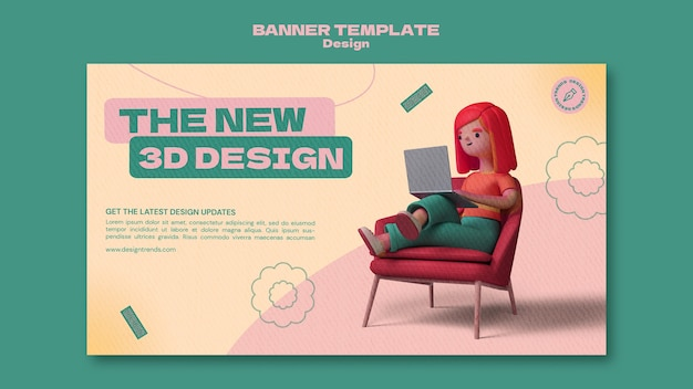 Szablon poziomy baner projekt 3d