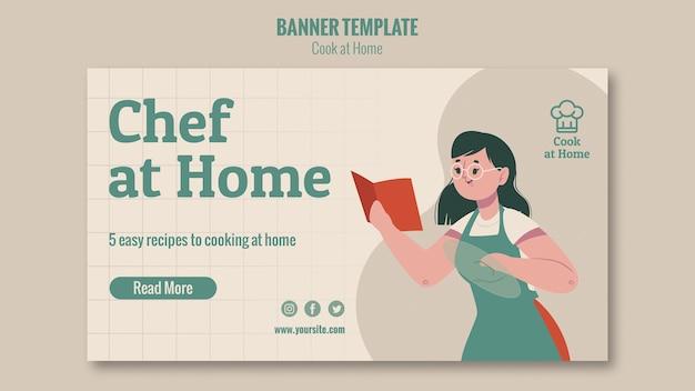 Szablon poziomy baner szefa kuchni w domu