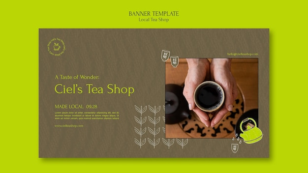 Szablon projektu banera lokalnego sklepu z herbatą